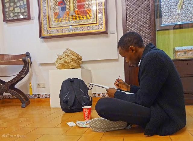 negro,nigger,sketcher,urban sketcher,córdoba,museo,arte sobre piel,guadamecí,cordobán,cuero,piel,artesanía,dibujar,boceto,acuarela,pintura,pincel,moleskine