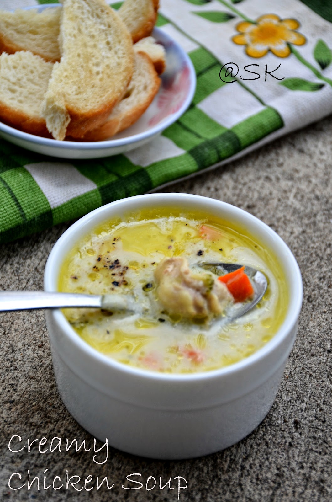 creamy chicken soup using  rice cooker - one shot soup - step by step