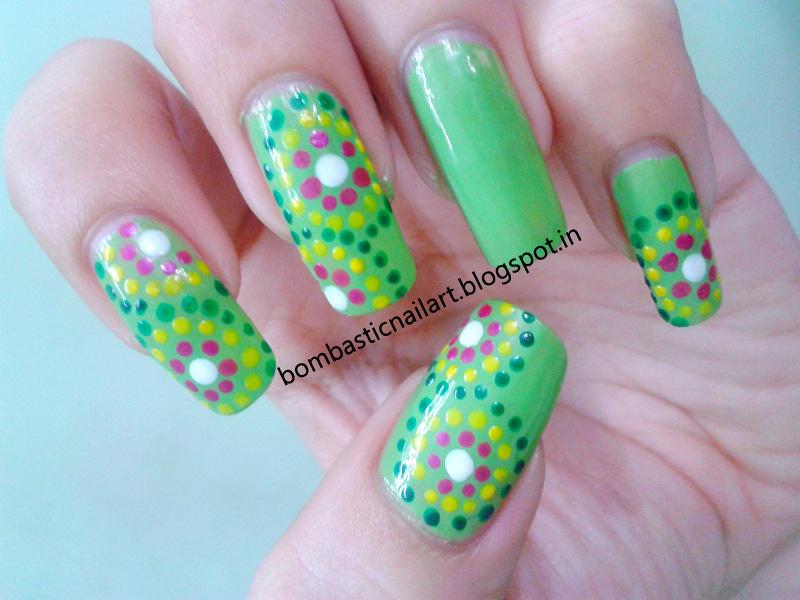 A New Trial With Green Dotting Nail Art Bombastic Nail Art