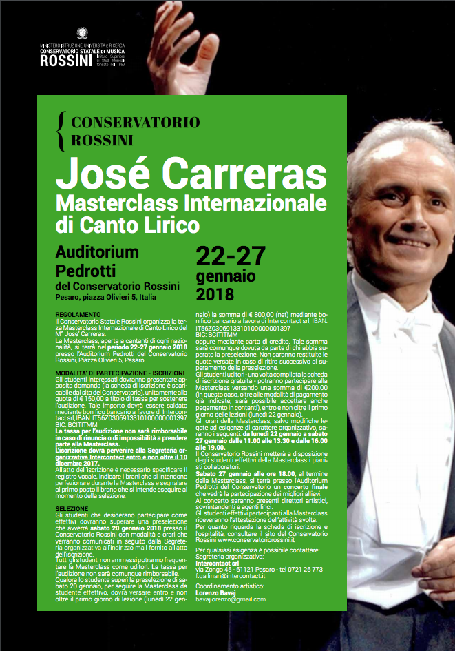 3rd JOSÉ CARRERAS INTERNATIONAL SINGING MASTERCLASS - PESARO 2018
