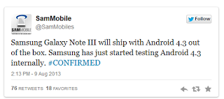 Samsung confirm Galaxy Note 3 will run Android OS 4.3