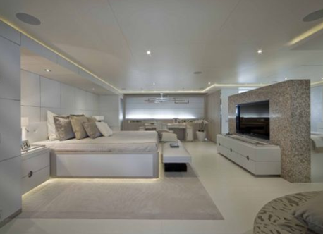 bed in master suite of darlings danama super yacht boat