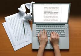 hands typing a story on a laptop used in Carlie M.A. Cullen's guest post on J.R. Wagner's Author blog. Post called The importance of Writing Exercises