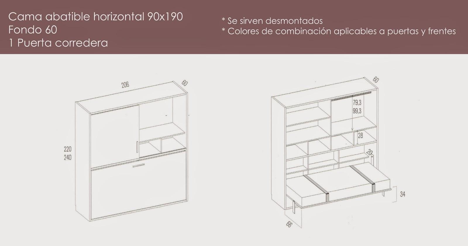Camas abatibles con armario literas y camas abatibles for Medidas para cama individual