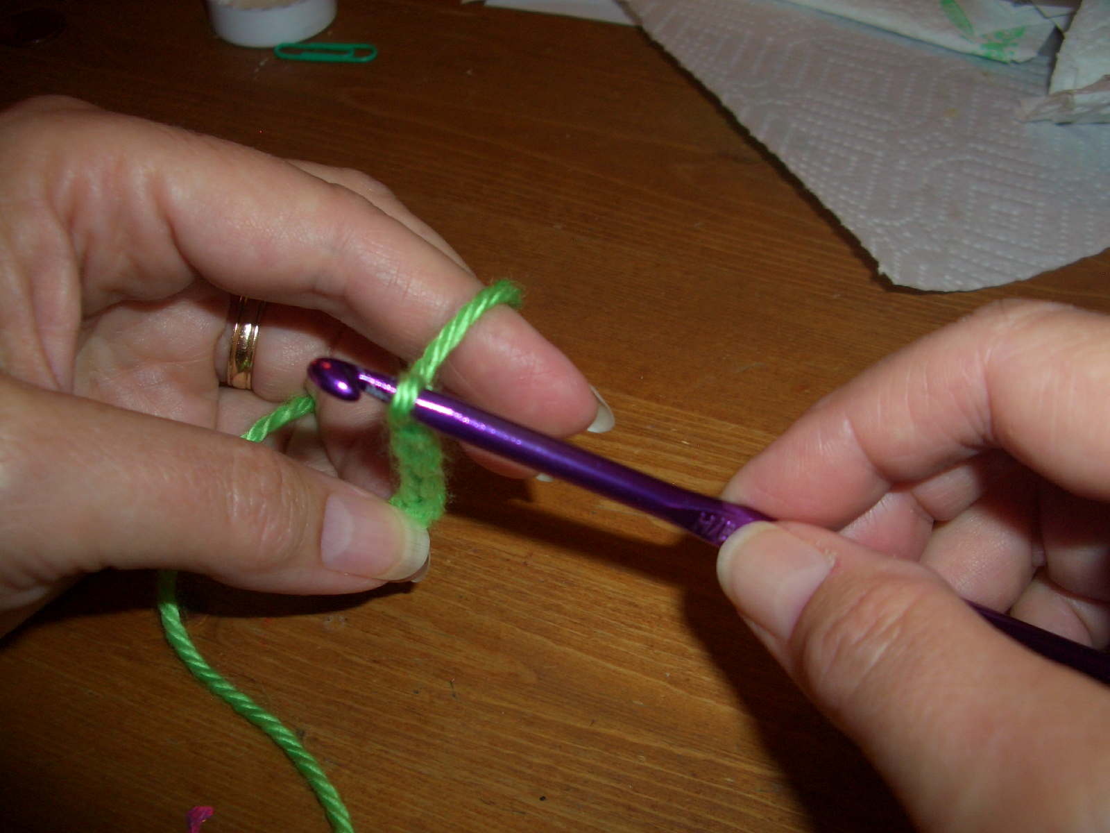 Crocheting Too Tightly : Slide the yarn back to the middle of the shaft, and then it will be ...