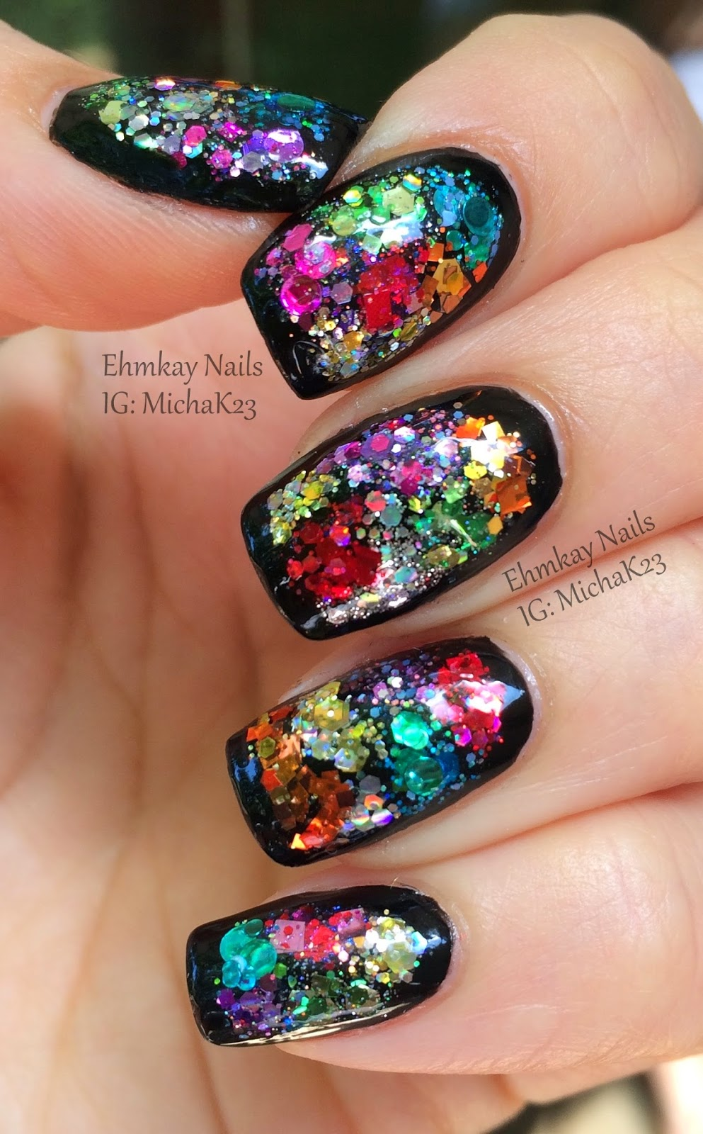 Guest Post: Color Block Glitter Framed Nail Art with Ehmkay Nails ...