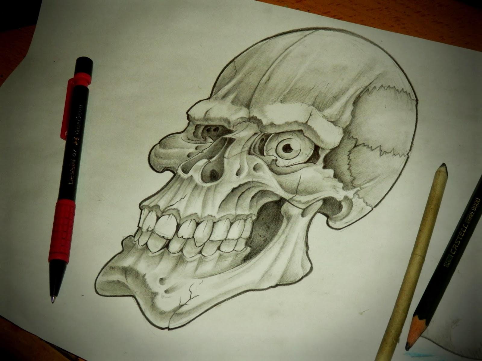 ElJose Art Lowrider skull desing  Diseo calavera chicana