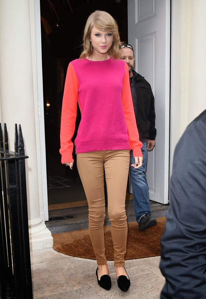 Taylor Swift spotted leaving Sketch restaurant in London in a colour block outfit