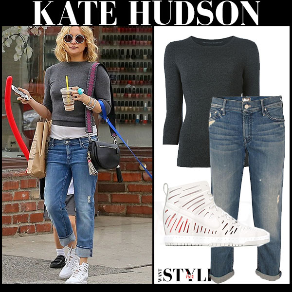 Kate Hudson in grey ernano scervino sweater, slouchy jeans and white high top Nike dunk sky jolie sneakers what she wore