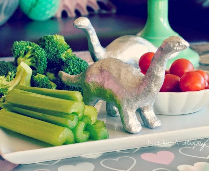RAWR Means XOXO In Dinosaur Valentine's Day Party veggies