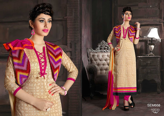 Straight Cut Chanderi Cotton Designer Salwar Kameez