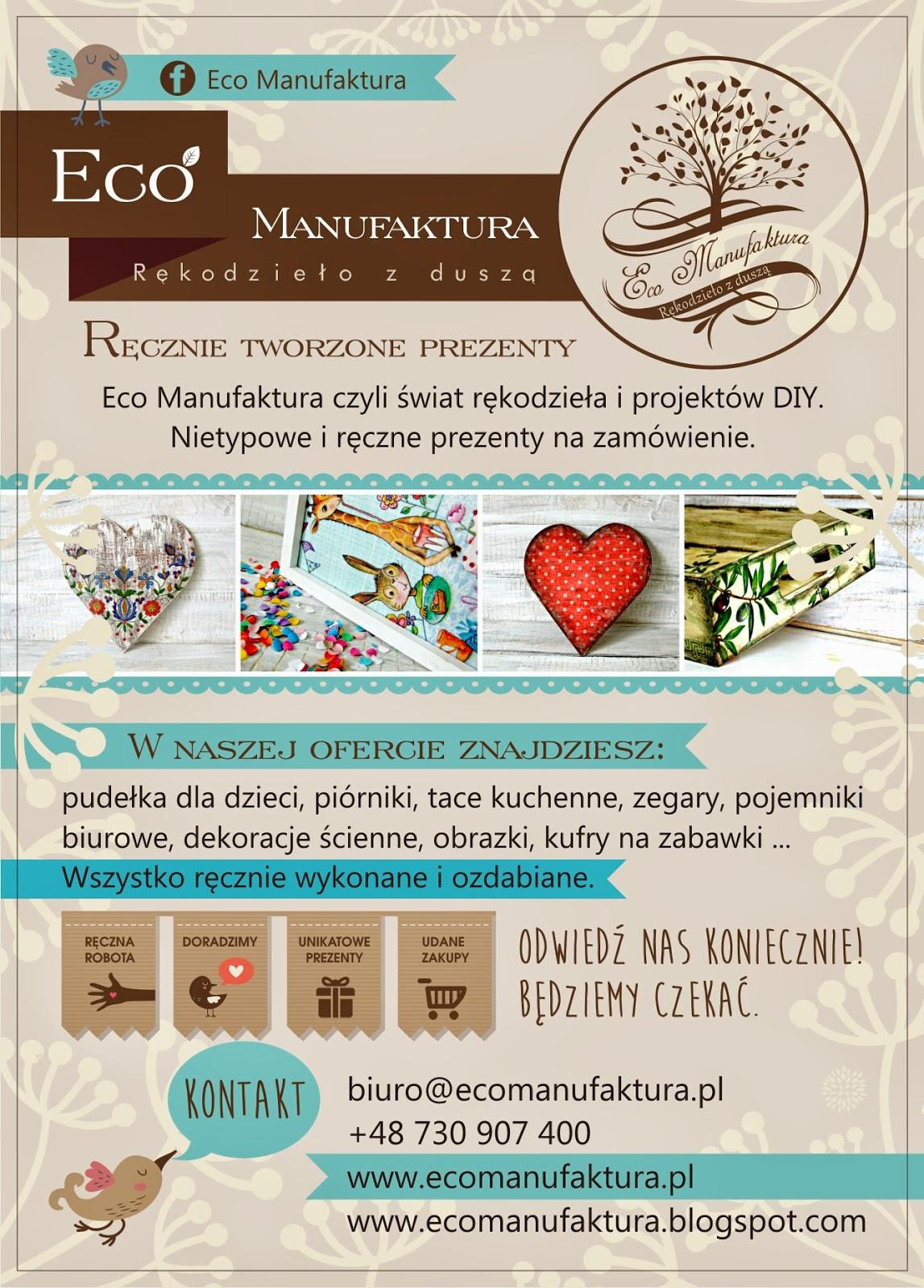 ulotka Eco Manufaktura - nowa identyfikacja graficzna pracowni rękodzieła i decoupage.