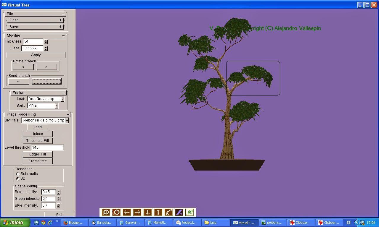 Segundo paso modelado 3D de bonsai creado con virtualBonsai