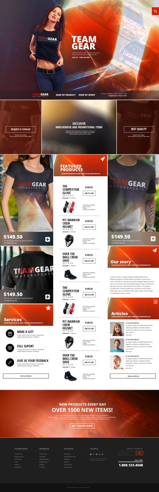 Team Gear Online Shop PSD Template