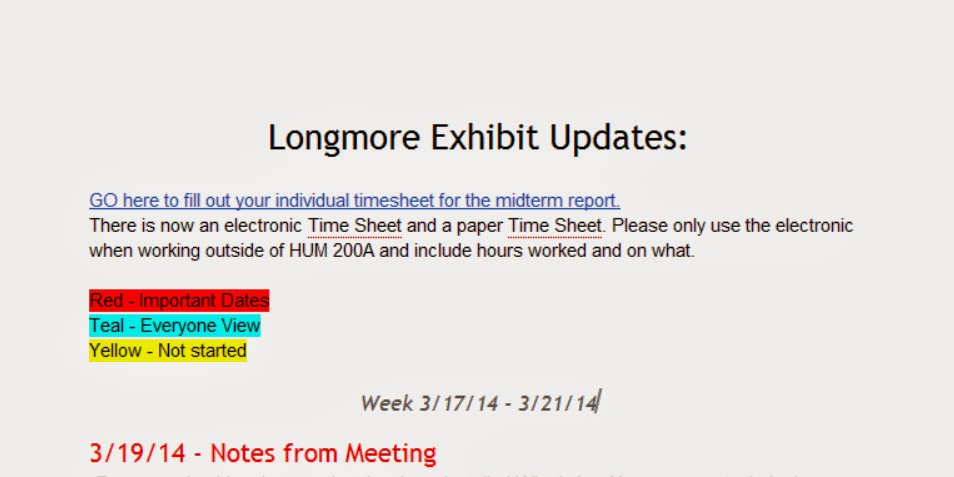 Longmore Exhibit Updates Document highlighting specific tasks that need to be completed.