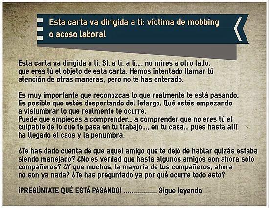 MobbingMadrid Esta carta va dirigida a ti: víctima de mobbing o acoso laboral
