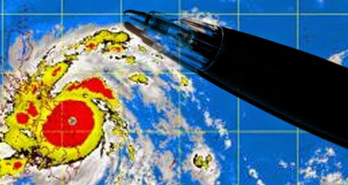 Pen photo via Wikimedia Commons, typhoon graphic via PAGASA