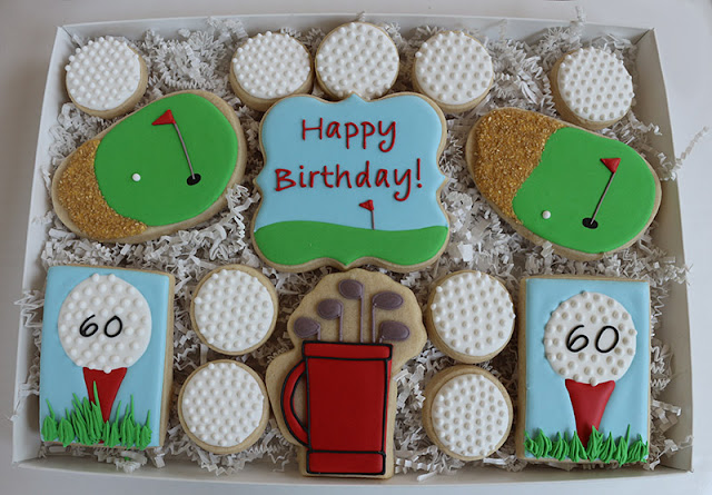 golf themed birthday cookie package