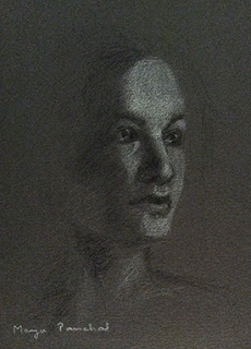 Portrait of a woman sketched using charcoal pencil and white pastel pencil, by Manju Panchal.