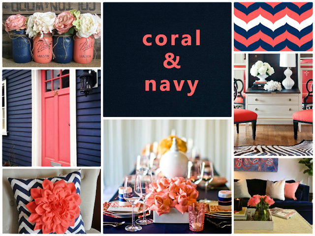 coral and navy color combination for home decoration