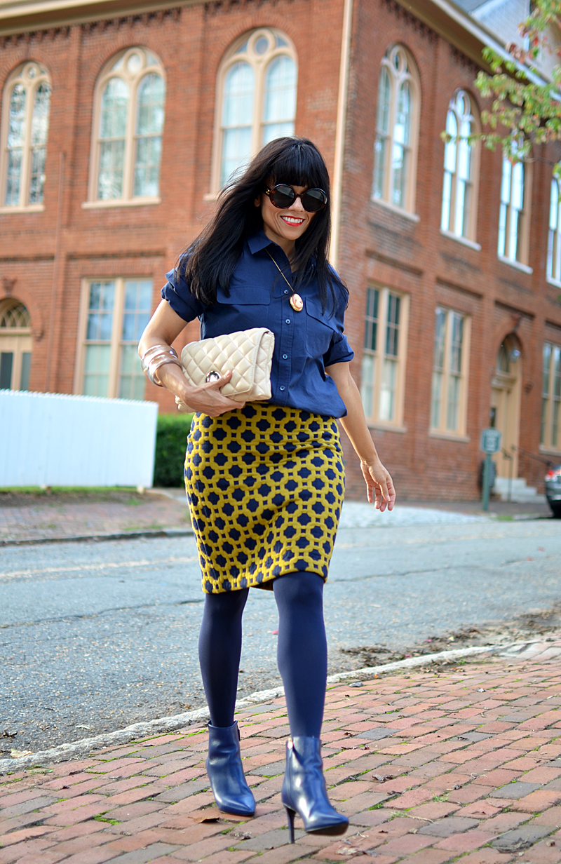 All blue street style