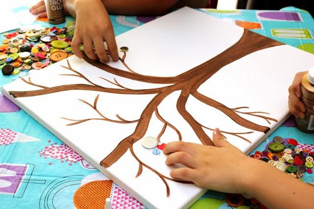 Reciclatex Cómo hacer un cuadro de árbol de botones, manualidad árbol de primavera
