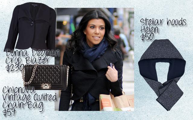 navy blue, knit, scarf, kourtney kardashian, Chicnova, Donna Degnan, Stellar hoods, nick