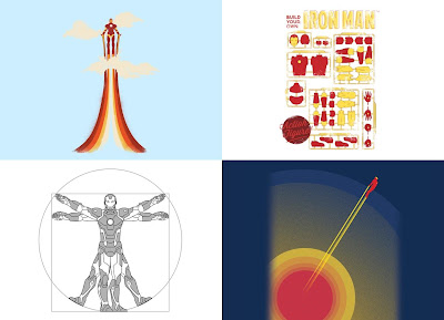 Marvel x Threadless Iron Man T-Shirt Collection - Through The Clouds, The Future In The Past, Vitruviron Man & Rocket