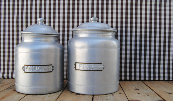 set of 2 vintage aluminum kitchen canisters - SUGAR & BEANS at space.rocket.store