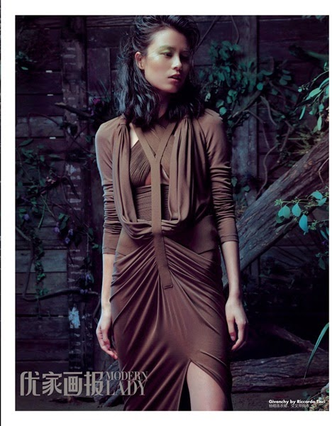 Givenchy SS 2014 Khaki / Orange Light Silk Jersey Draped Long Dress