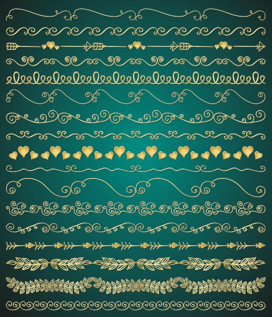 Ornamentos de San Valentín dorados - vector