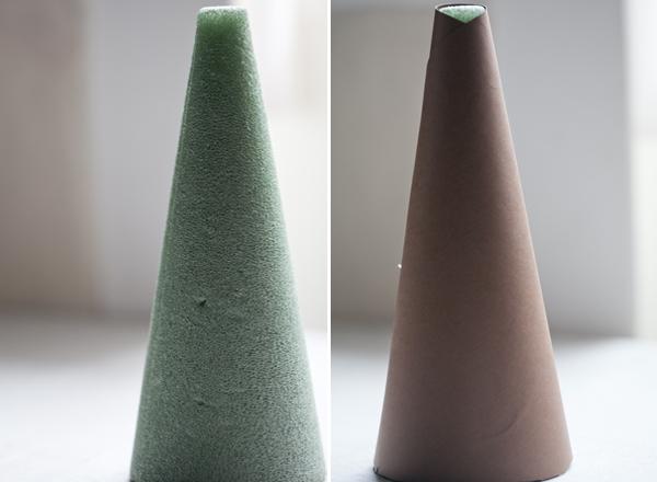 hacer árbol navidad con piñas  pequeño espuma cubierta papel marron