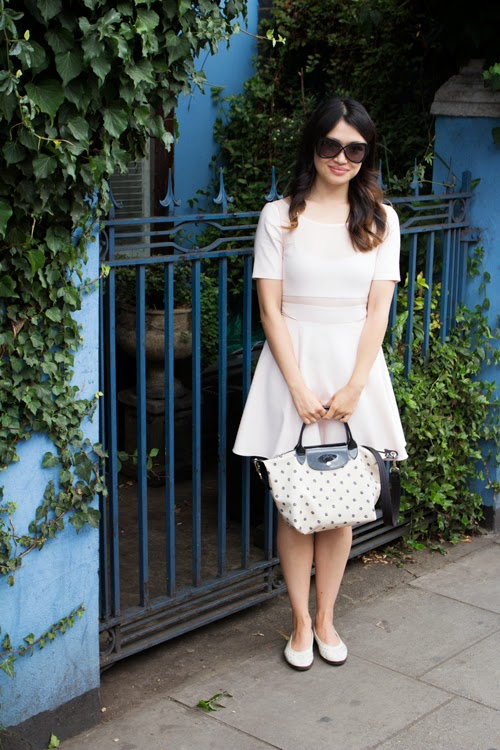 Vancouver fashion blog, elizabeth and james dress, longchamp purse