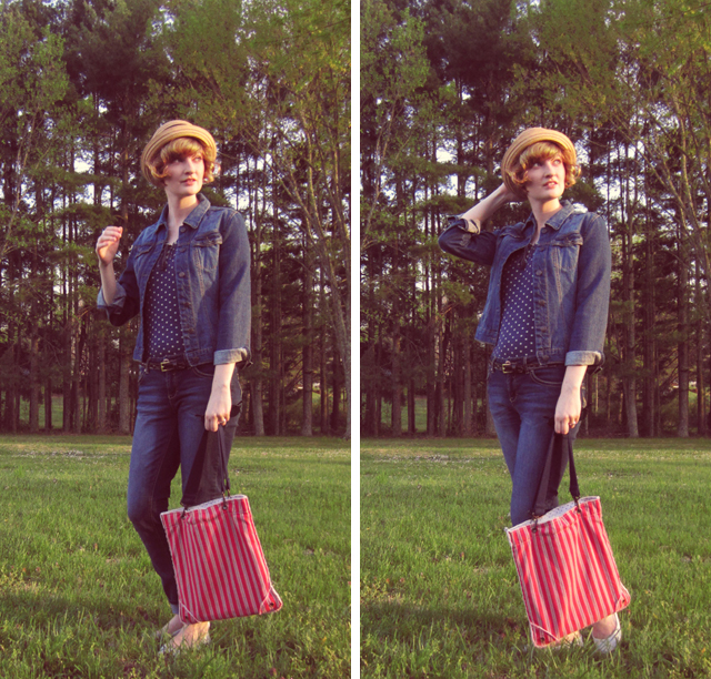 Paper straw hat, thrifted denim jacket, casual jeans