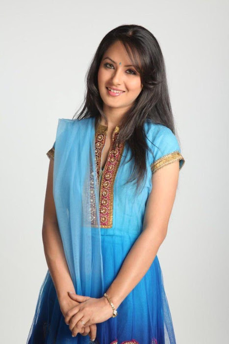 Pooja Bose in Blue Coloured Anarkali Salwar Kameez. Tolly Fashion