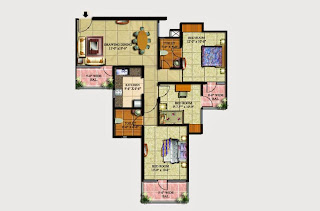 Livingston :: Floor Plans,Block G:-2 BHK (Galaxy)3 Bedroom, 2 Toilet, Kitchen, Dining, Drawing, 3 Balconies Super Area - 1320 Sq Ft