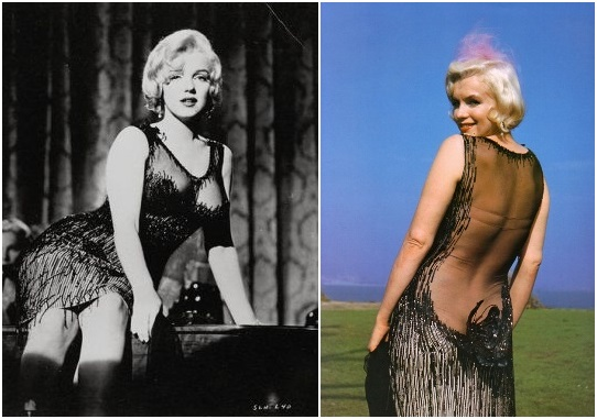 Marilyn Monroe wears a sexy black dress in Some Like It Hot