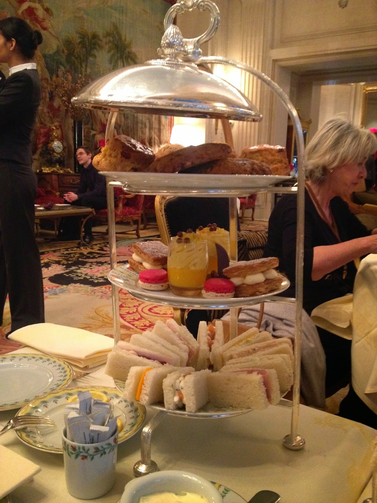 Tea time at La Galerie, Four Seasons Hotel George V, Paris