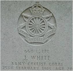 WW1 headstone 660 L CPL J White