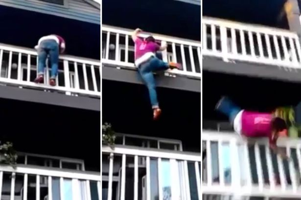 Girl's attempts to climb down balcony goes horribly wrong