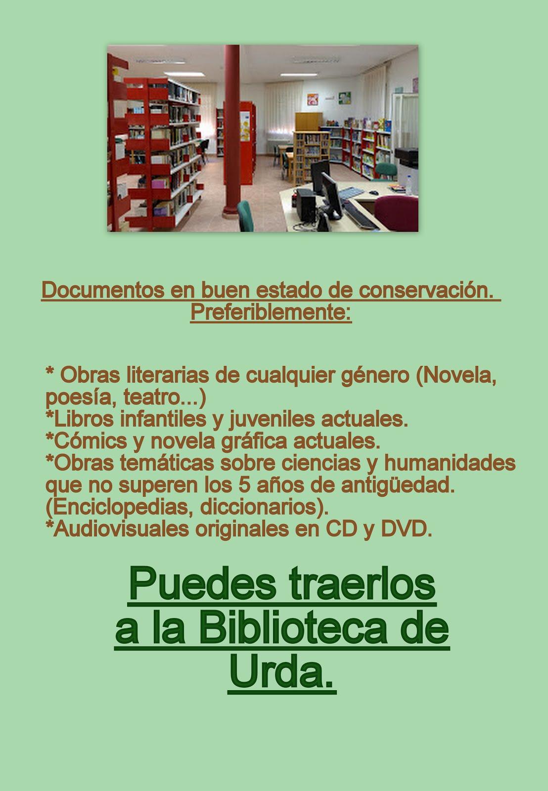 DONACIONES PARA LA BIBLIOTECA DE CEBOLLA (TOLEDO)