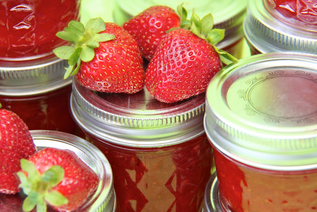 Strawberry Freezer Jam, it's like having fresh strawberries on your morning toast. So easy too, no cooking!!