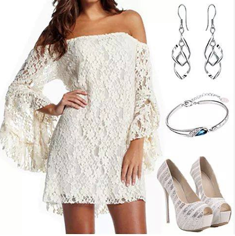minimal evening look, with this elegant white lace mini dress. Perfect with matching court shoes . Simple long sleeves.