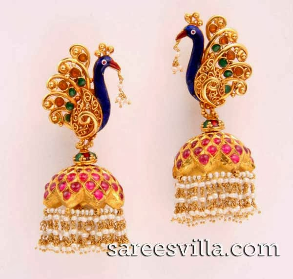 Latest peacock jhumkas Design