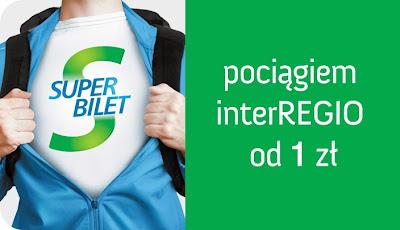 tanie bilety kolejowe interREGIO od złotówki - Super Bilet za 1 zł