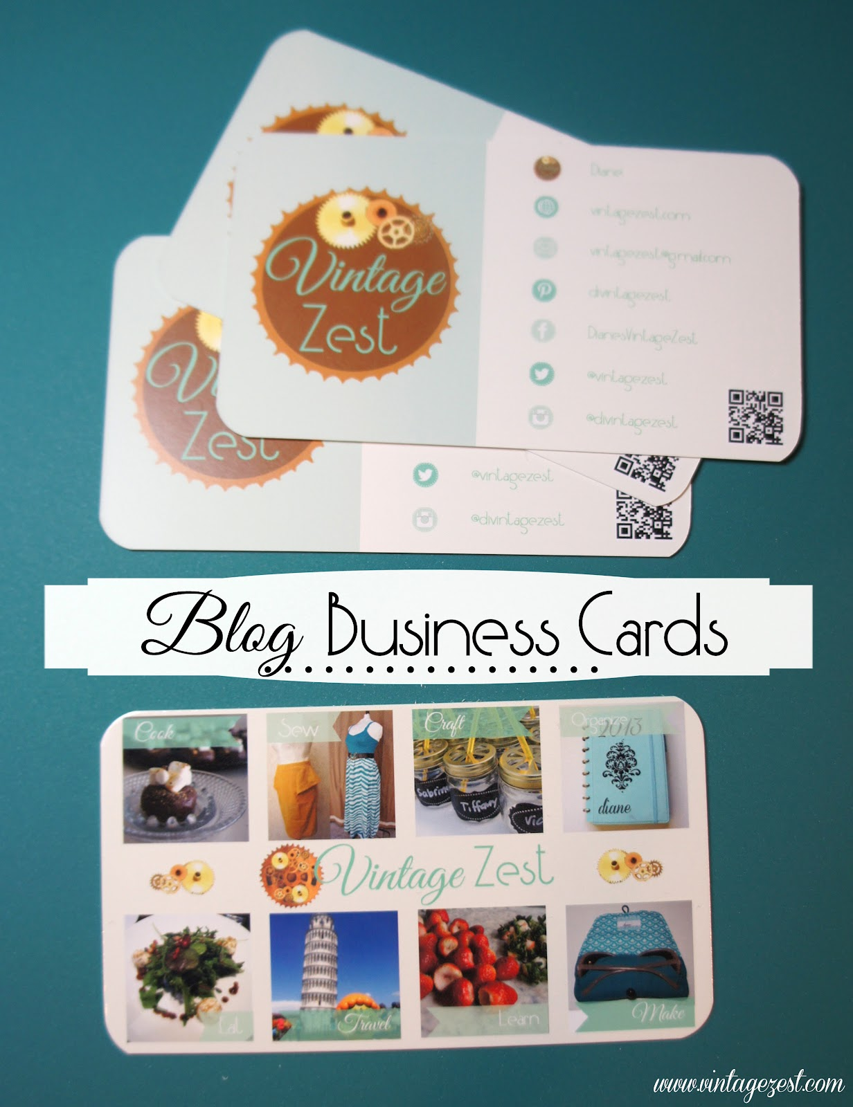 Blog business cards my new domain name dianes vintage zest my new business cards i designed them from scratch and now that i have them in my hands i will most likely make a few changes to the next batch reheart Gallery