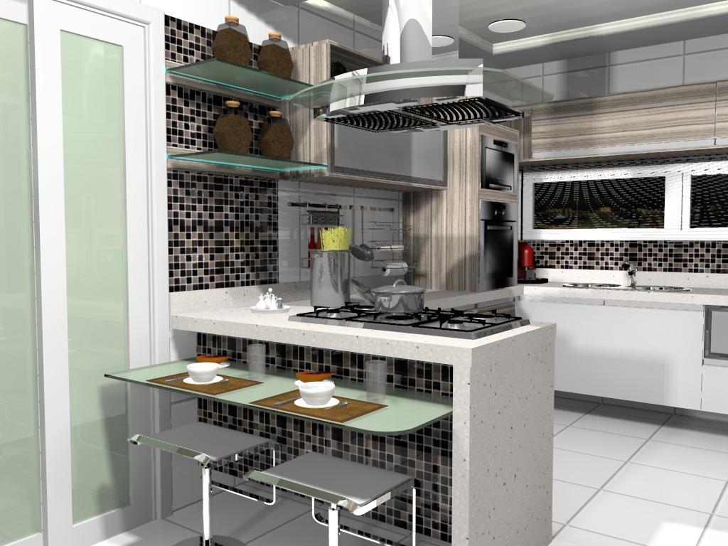 Image For Banquetas para Cozinha Americana: como usar na decoração #614E3D 1024 768