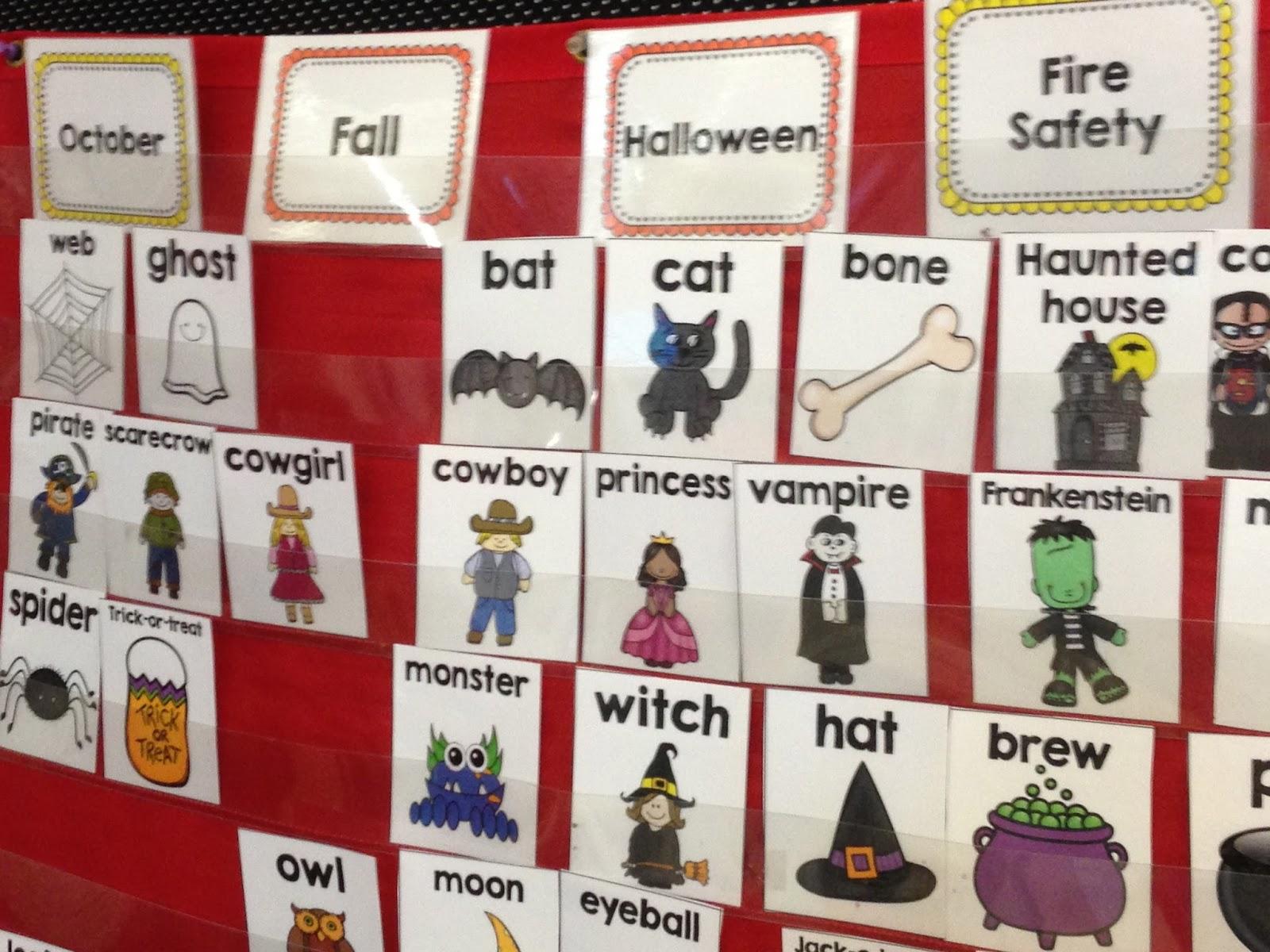 October writing center, kindergarten writing