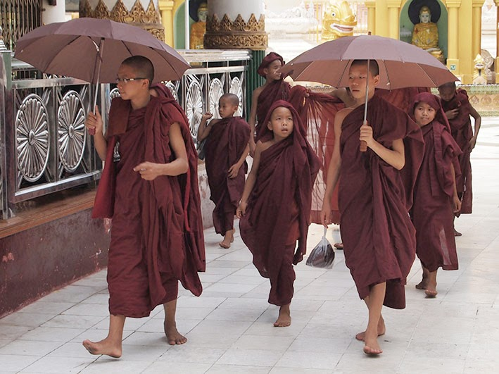 Young monks - Shwedagon temple, Rangoon