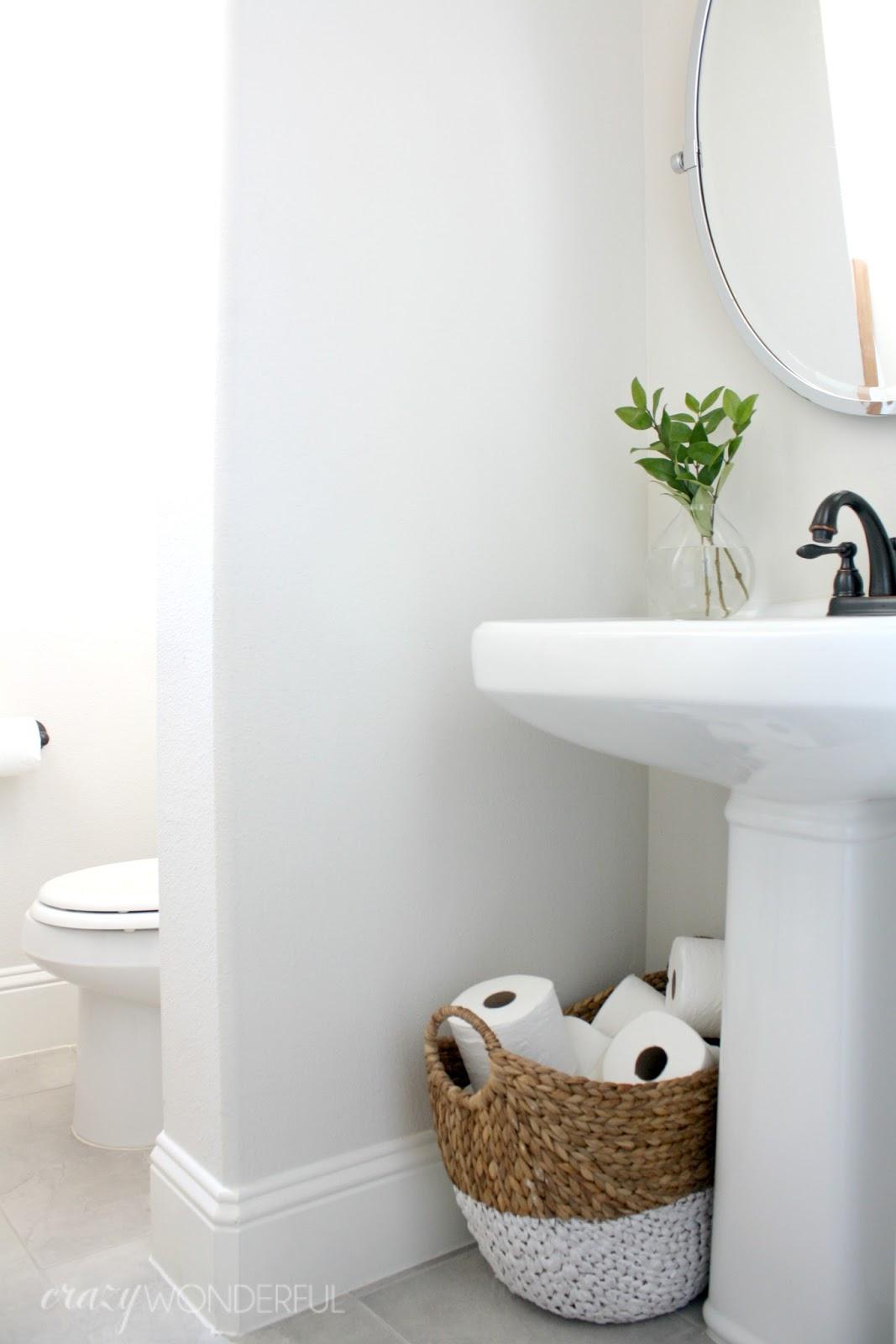 Our powder room crazy wonderful for Small mens bathroom ideas